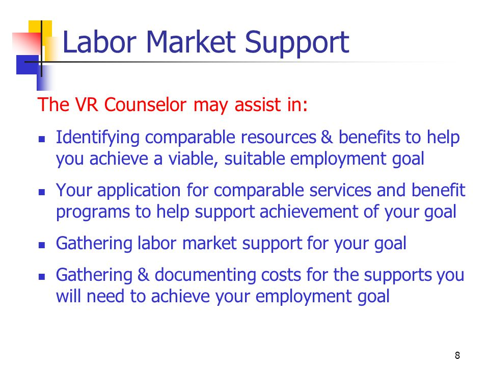 Labor Market Support The VR Counselor may assist in: