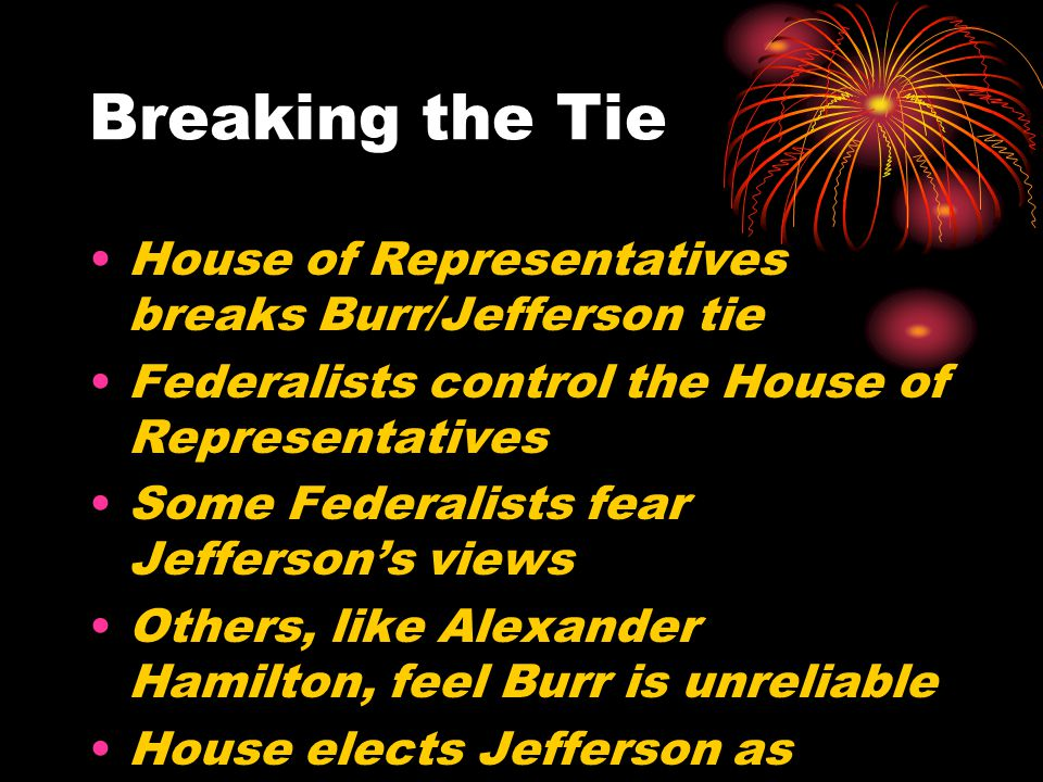 Breaking the Tie House of Representatives breaks Burr/Jefferson tie