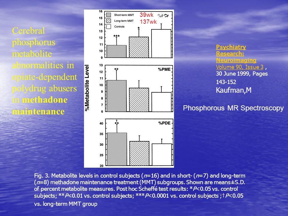 39wk 137wk. 39 wk. Cerebral phosphorus metabolite abnormalities in opiate-dependent polydrug abusers in methadone maintenance.
