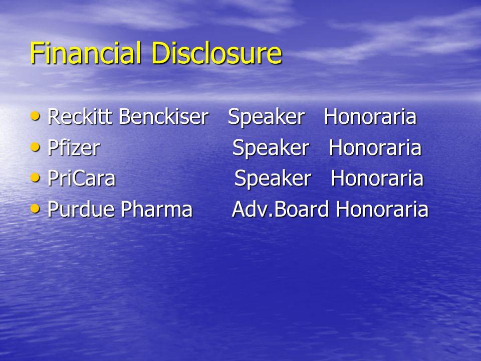 Financial Disclosure Reckitt Benckiser Speaker Honoraria