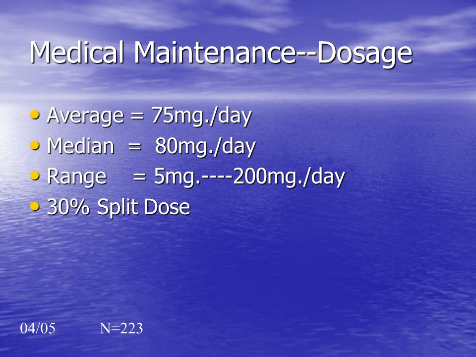 Medical Maintenance--Dosage