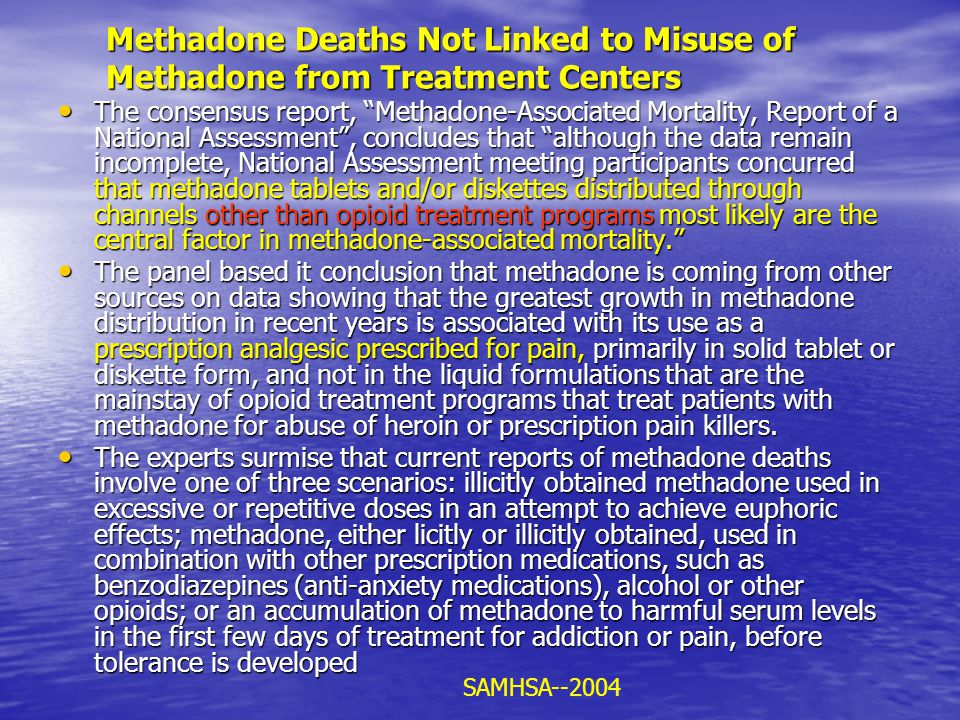 Methadone Deaths Not Linked to Misuse of Methadone from Treatment Centers