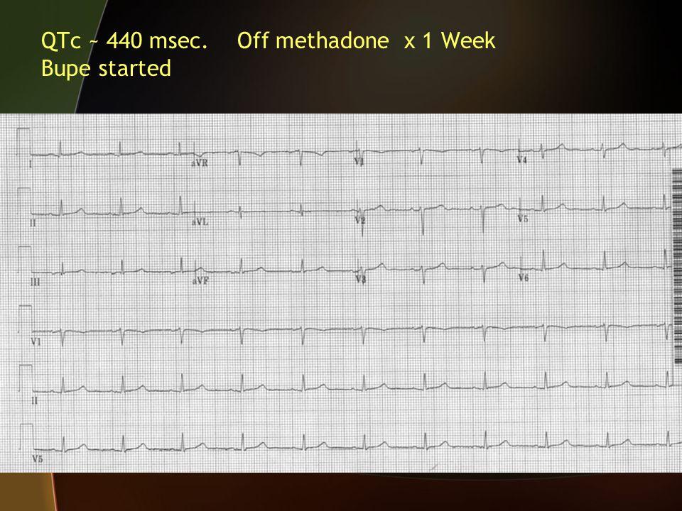 QTc ~ 440 msec. Off methadone x 1 Week