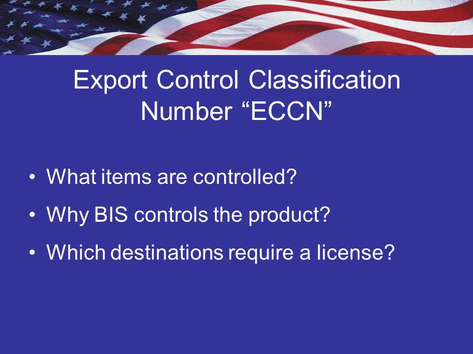 Export Control Classification Number ECCN