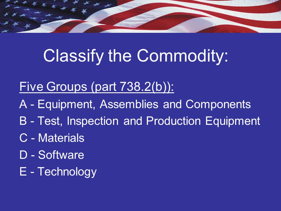Classify the Commodity: