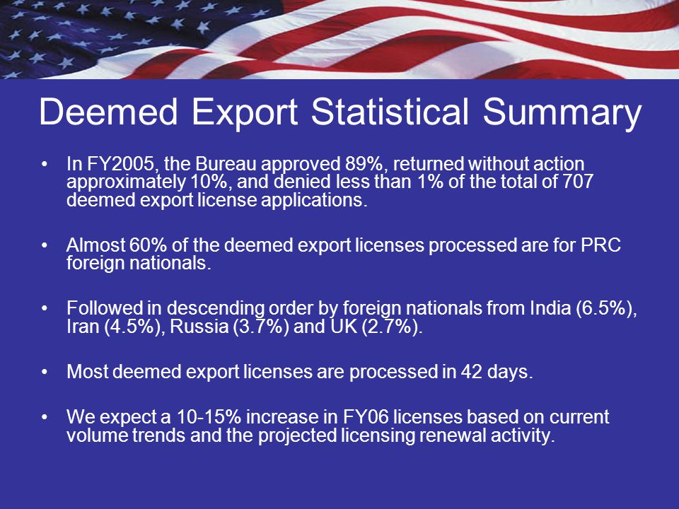 Deemed Export Statistical Summary