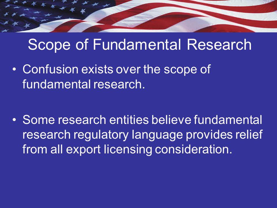 Scope of Fundamental Research