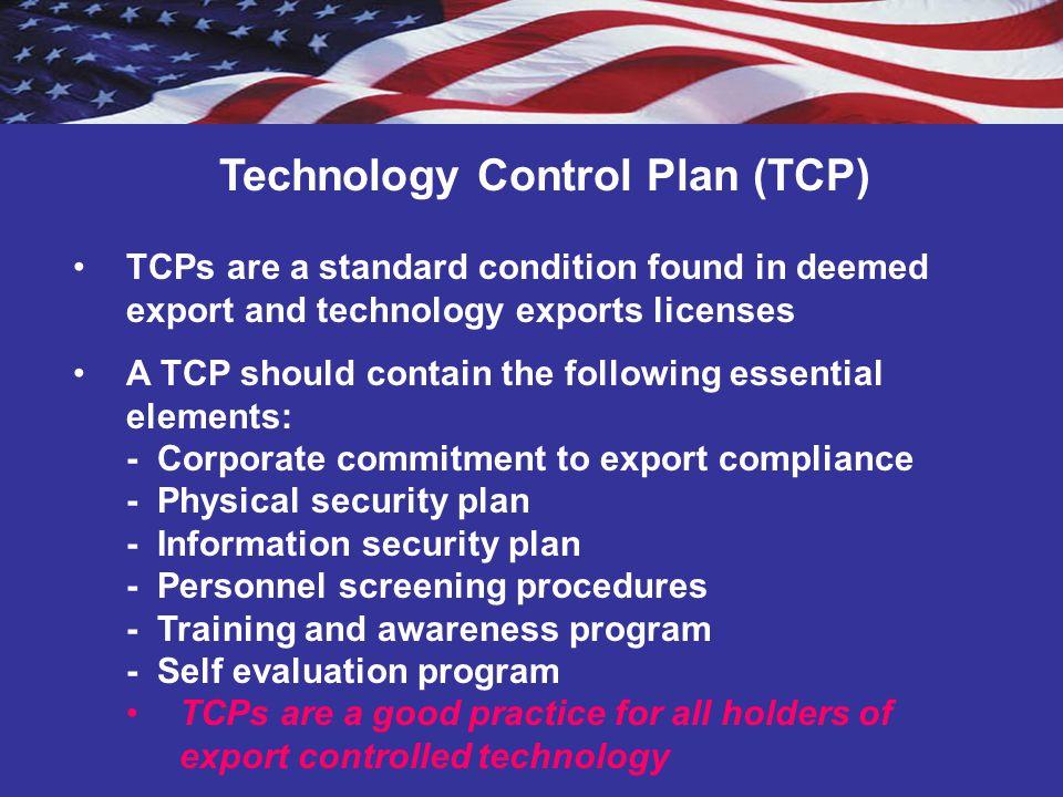 Technology Control Plan (TCP)