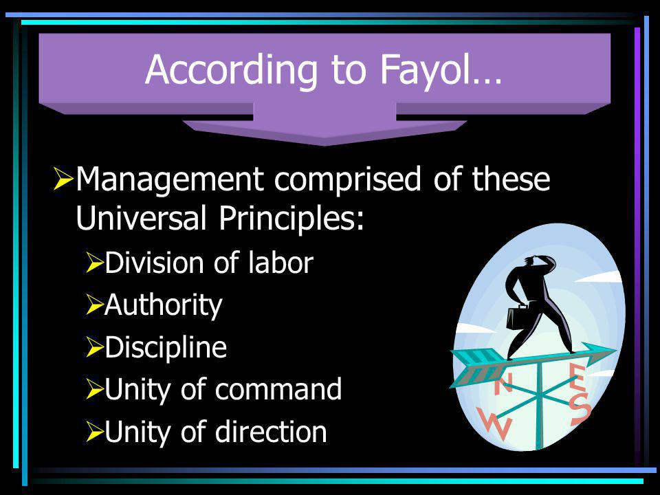 According to Fayol… Management comprised of these Universal Principles: Division of labor. Authority.