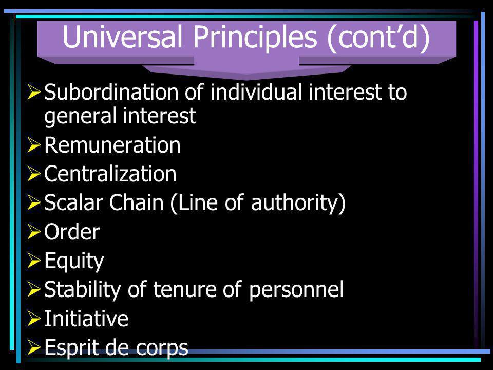 Universal Principles (cont'd)
