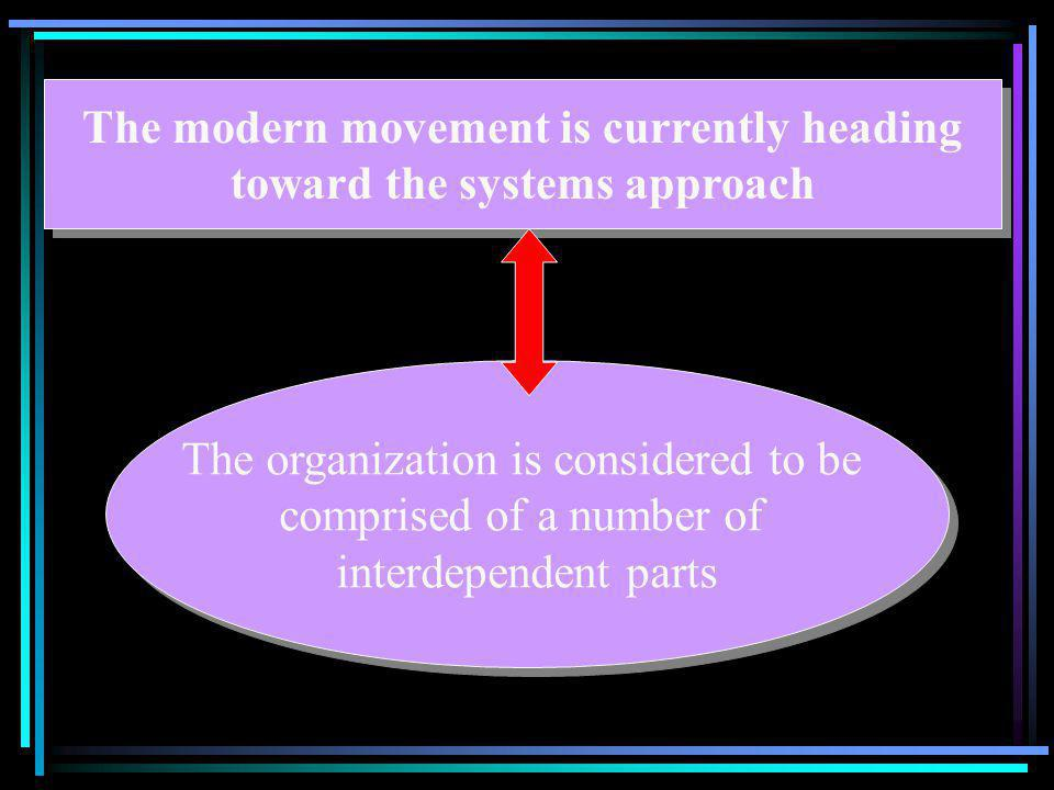 The modern movement is currently heading toward the systems approach