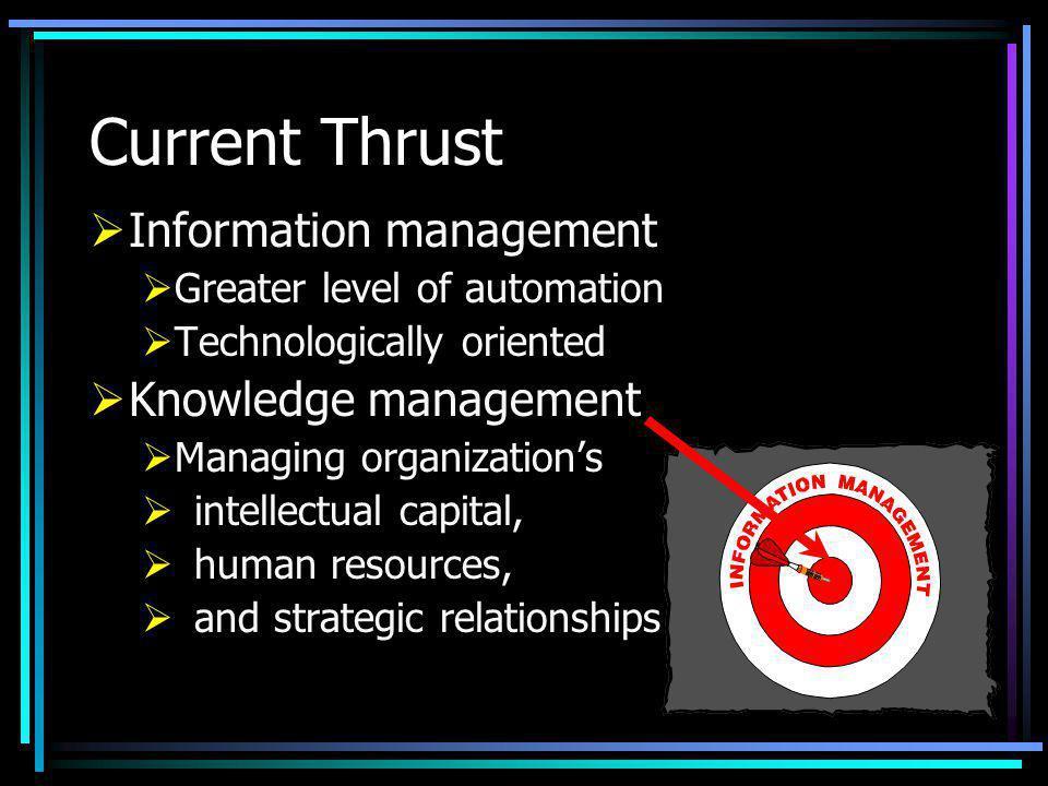 Current Thrust Information management Knowledge management