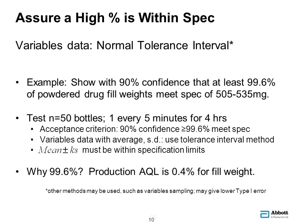 Assure a High % is Within Spec