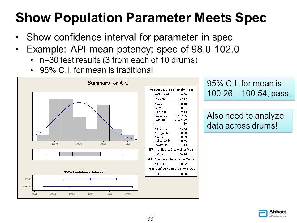 Show Population Parameter Meets Spec