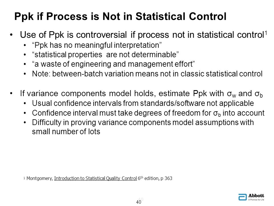 Ppk if Process is Not in Statistical Control