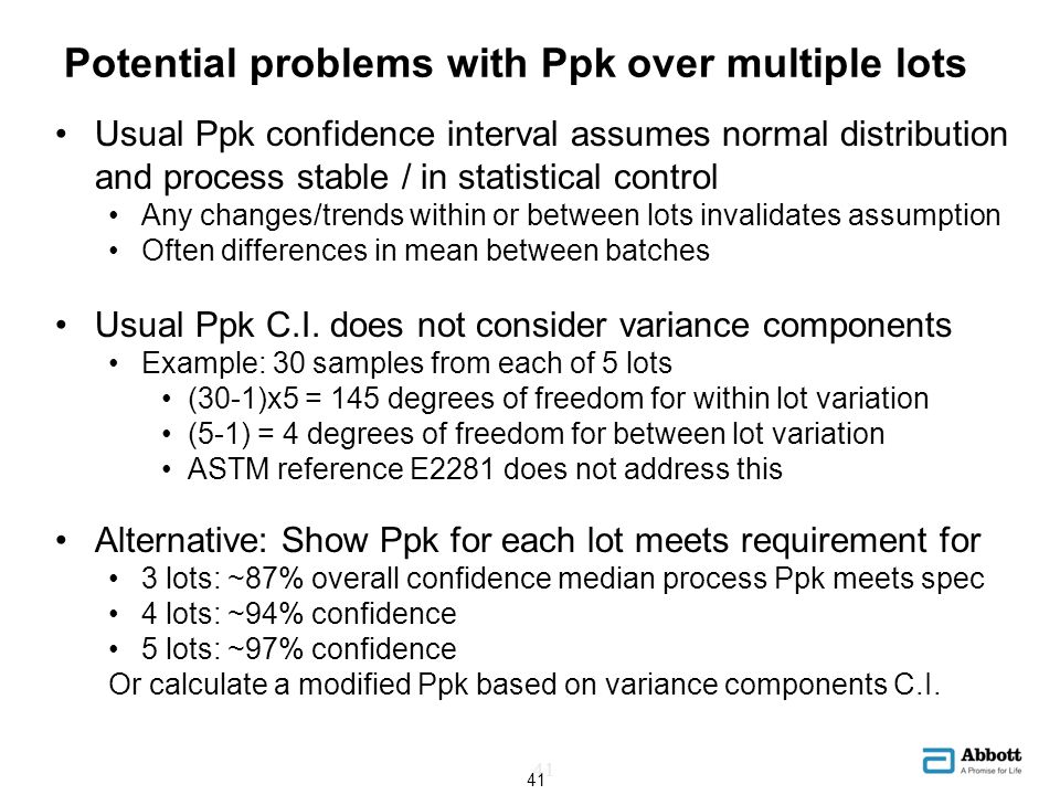Potential problems with Ppk over multiple lots