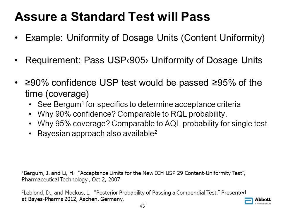 Assure a Standard Test will Pass