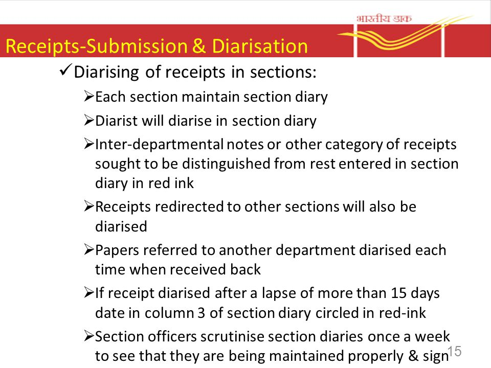 Receipts-Submission & Diarisation