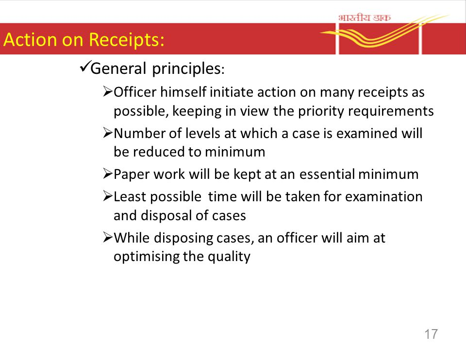 Action on Receipts: General principles: