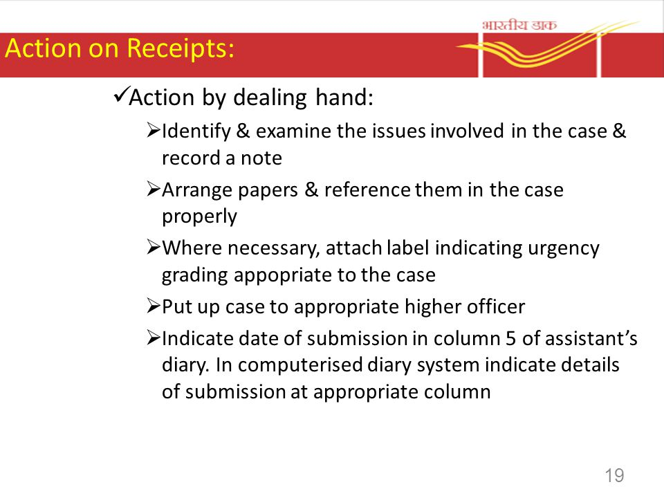 Action on Receipts: Action by dealing hand: