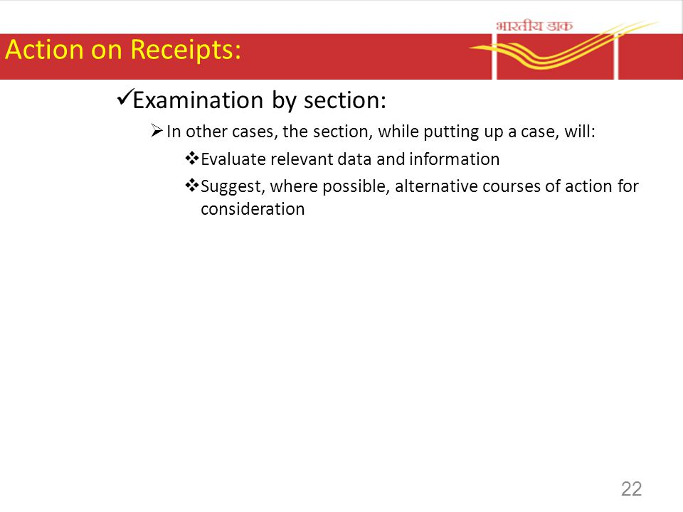 Action on Receipts: Examination by section: