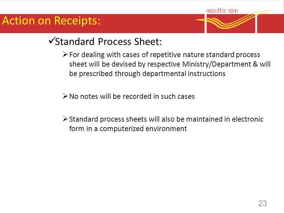 Action on Receipts: Standard Process Sheet: