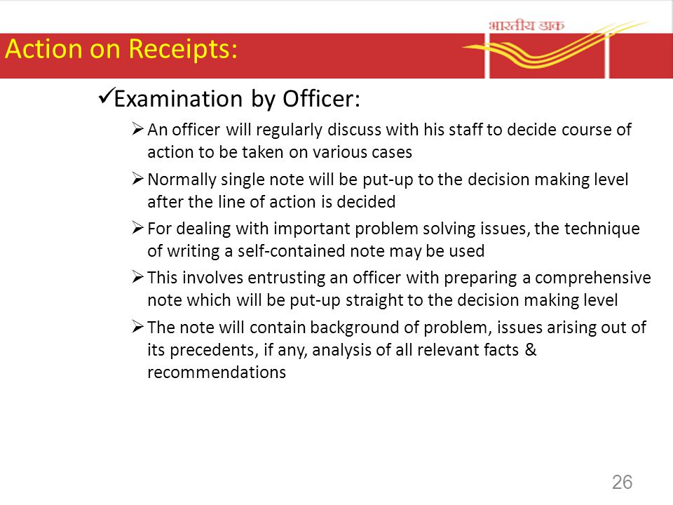 Action on Receipts: Examination by Officer: