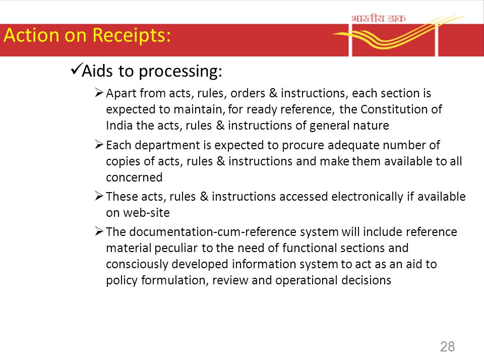 Action on Receipts: Aids to processing: