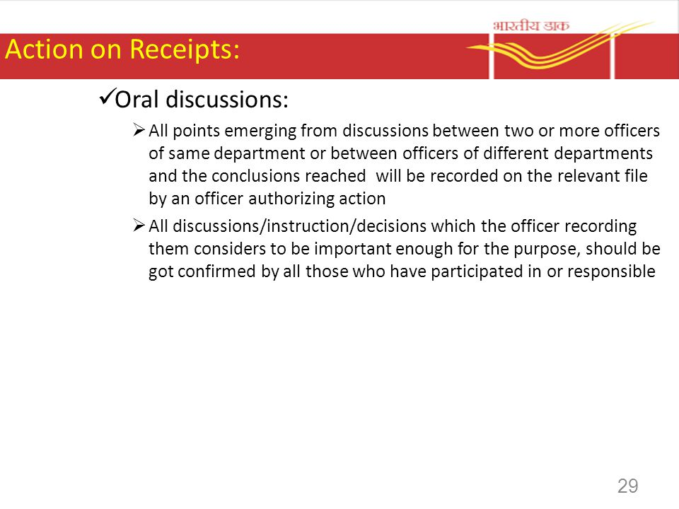 Action on Receipts: Oral discussions: