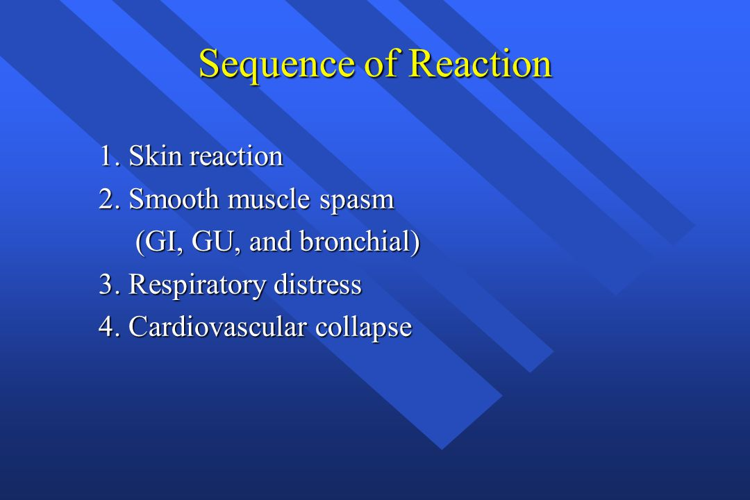 Sequence of Reaction 1. Skin reaction 2. Smooth muscle spasm