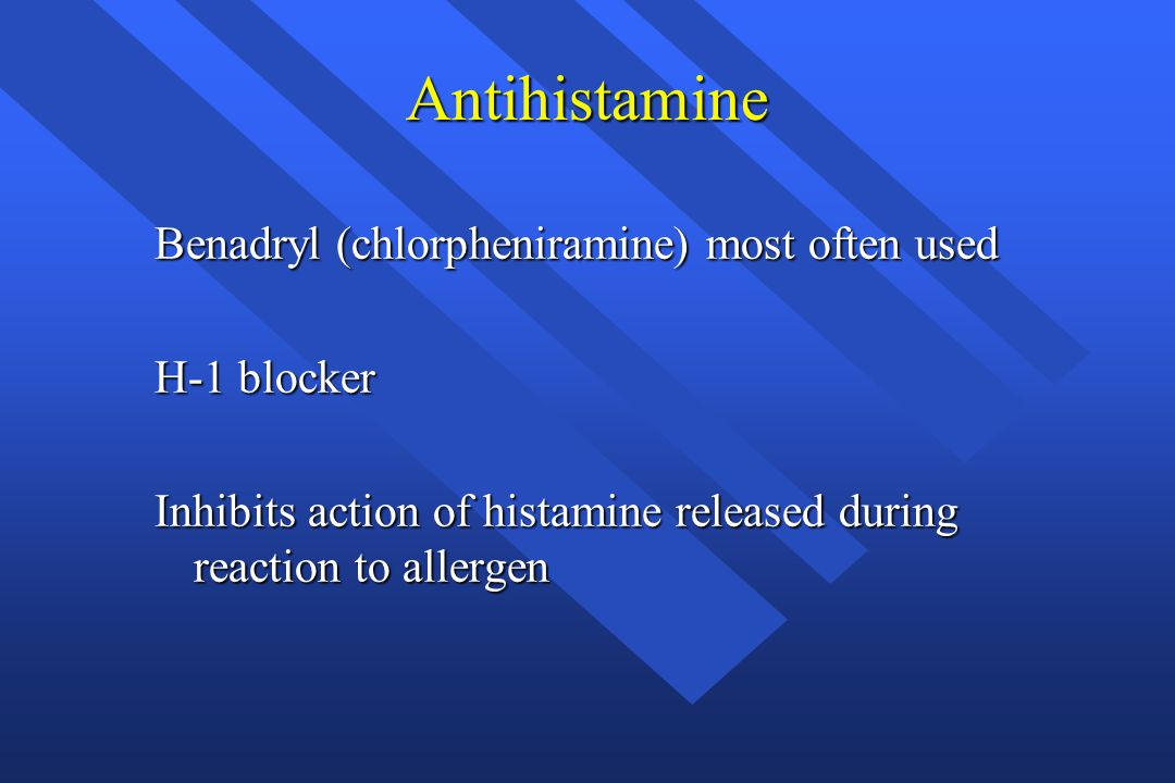 Antihistamine Benadryl (chlorpheniramine) most often used H-1 blocker