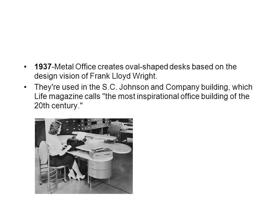 1937-Metal Office creates oval-shaped desks based on the design vision of Frank Lloyd Wright.