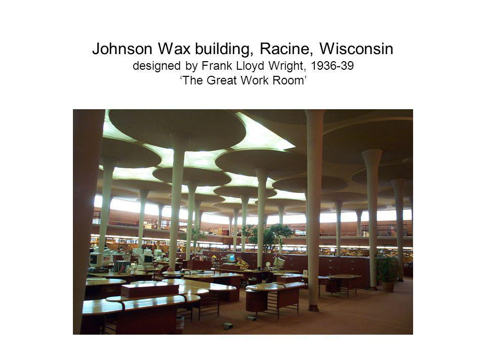 Johnson Wax building, Racine, Wisconsin designed by Frank Lloyd Wright, 'The Great Work Room'
