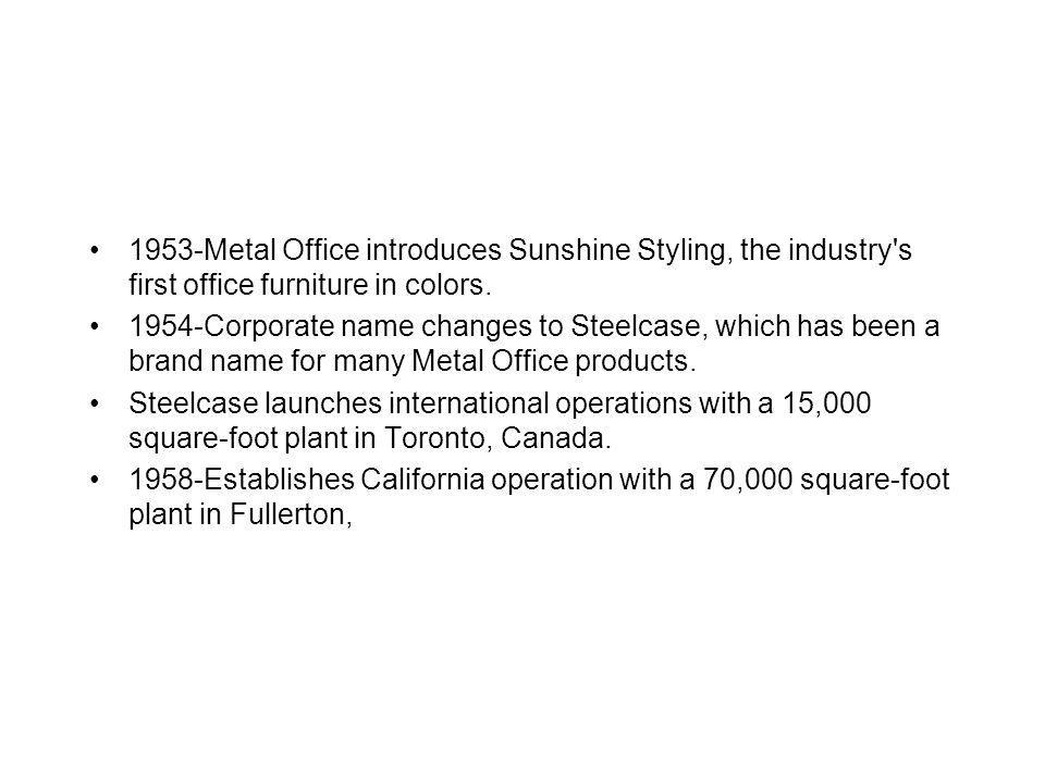 1953 -Metal Office introduces Sunshine Styling, the industry s first office furniture in colors.