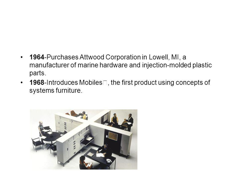 1964-Purchases Attwood Corporation in Lowell, MI, a manufacturer of marine hardware and injection-molded plastic parts.