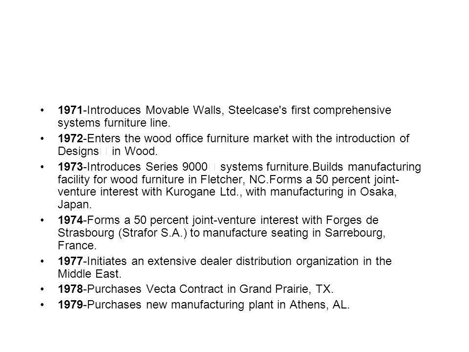1971-Introduces Movable Walls, Steelcase s first comprehensive systems furniture line.