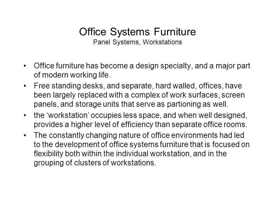 Office Systems Furniture Panel Systems, Workstations