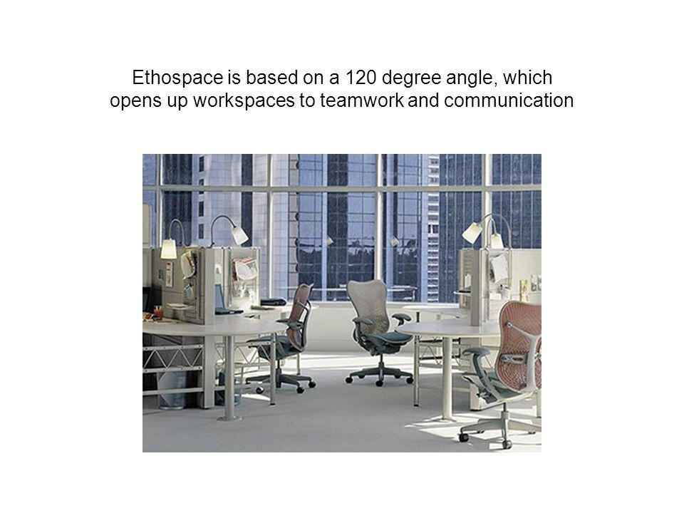 Ethospace is based on a 120 degree angle, which opens up workspaces to teamwork and communication