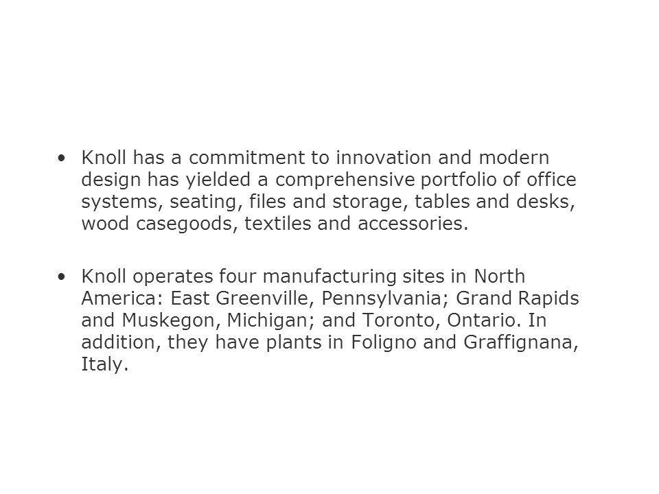 Knoll has a commitment to innovation and modern design has yielded a comprehensive portfolio of office systems, seating, files and storage, tables and desks, wood casegoods, textiles and accessories.