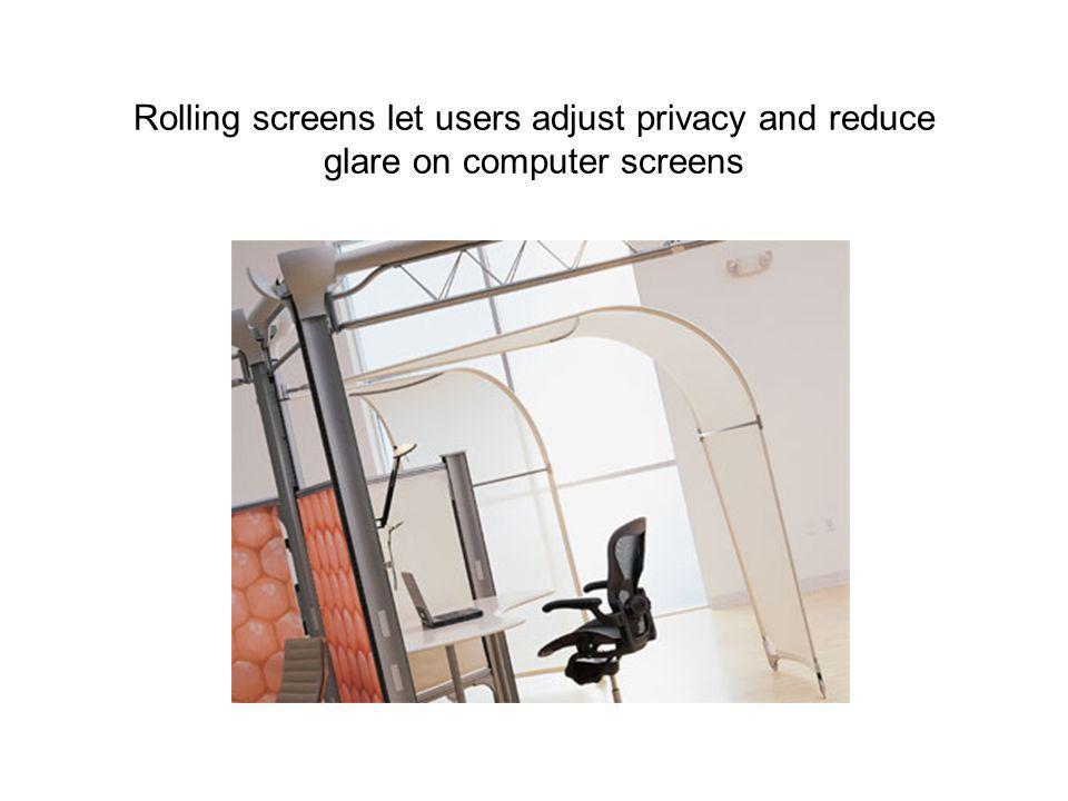 Rolling screens let users adjust privacy and reduce glare on computer screens