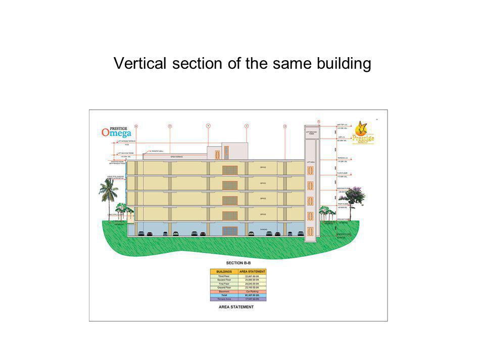 Vertical section of the same building
