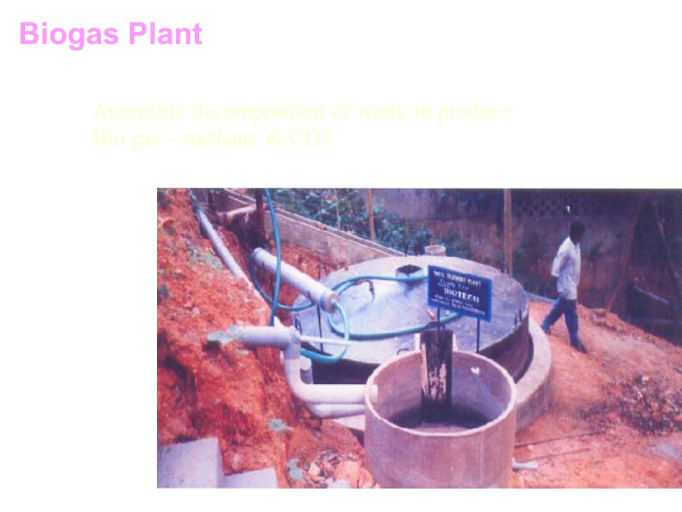 Biogas Plant Anaerobic decomposition of waste to produce Bio gas – methane & CO2