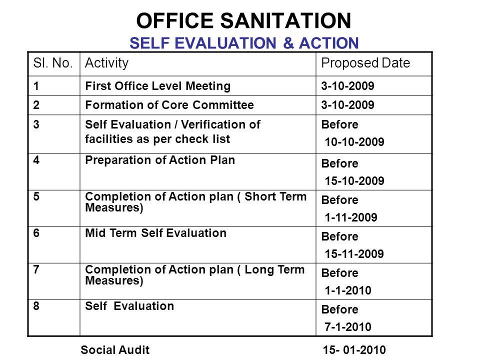 OFFICE SANITATION SELF EVALUATION & ACTION