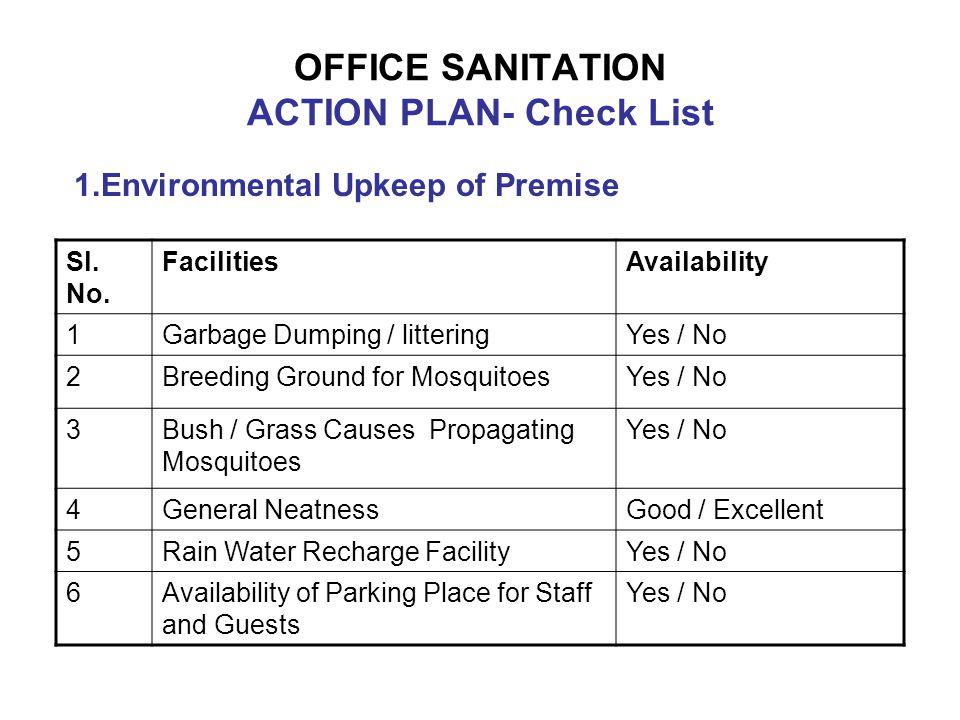 OFFICE SANITATION ACTION PLAN- Check List
