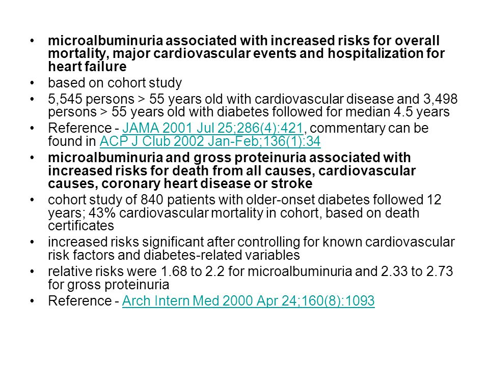 microalbuminuria associated with increased risks for overall mortality, major cardiovascular events and hospitalization for heart failure