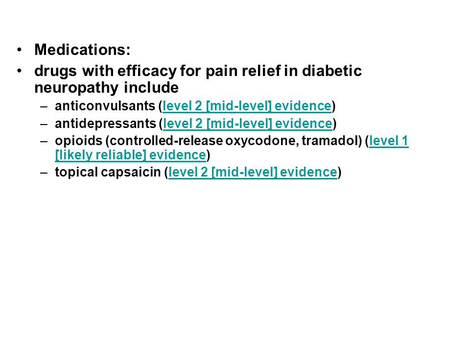 drugs with efficacy for pain relief in diabetic neuropathy include