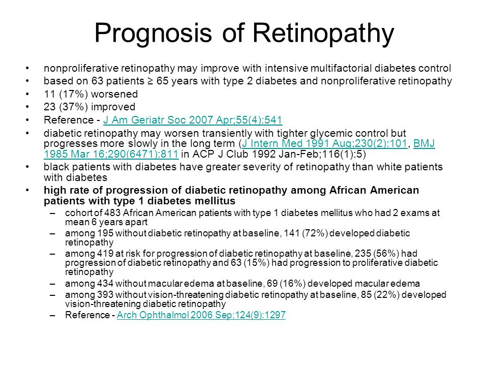 Prognosis of Retinopathy