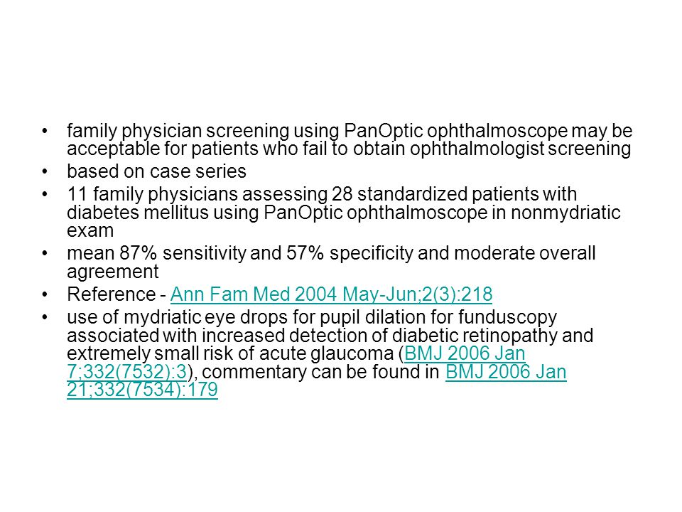 family physician screening using PanOptic ophthalmoscope may be acceptable for patients who fail to obtain ophthalmologist screening