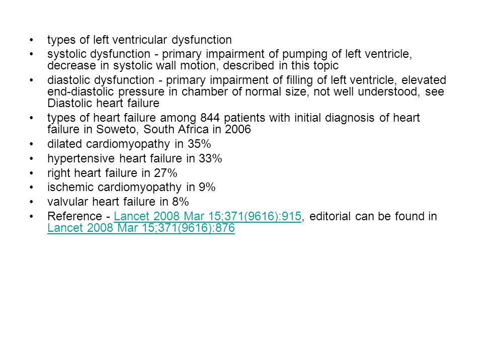 types of left ventricular dysfunction