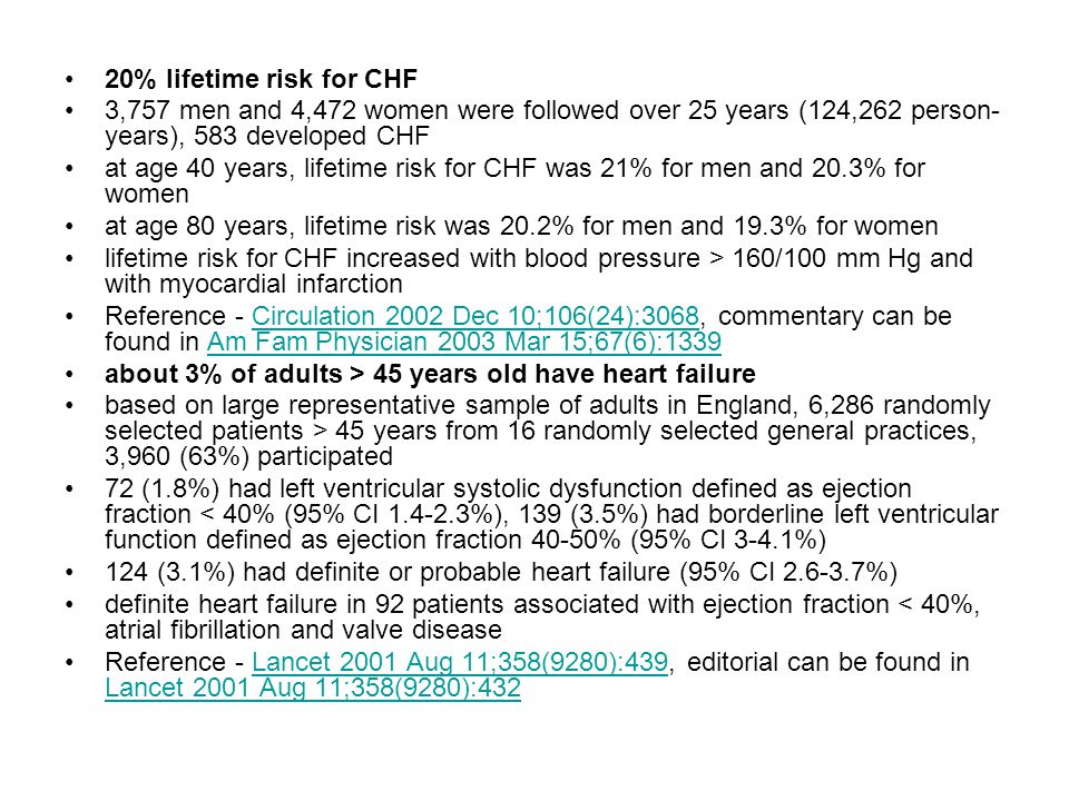 20% lifetime risk for CHF 3,757 men and 4,472 women were followed over 25 years (124,262 person-years), 583 developed CHF.